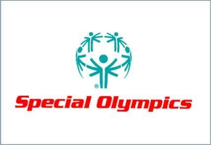 Olympics in red. The flag has the colour logo in the middle on a white background.