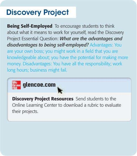 Discovery Project Being Self-Employed To encourage students to think about what it means to work