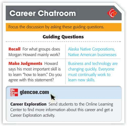 Career Chatroom Focus the discussion by asking these guiding questions. Guiding Questions Recall For what