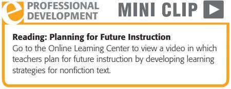 PROFESSIONAL DEVELOPMENT Reading: Planning for Future Instruction Go to the Online Learning Center to view