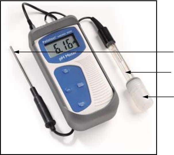 Procedure Fig. 6.2: pH Meter. Reference Electrode (Probe) Glass Electrode Rubber Cap 1. Push the ON/OFF
