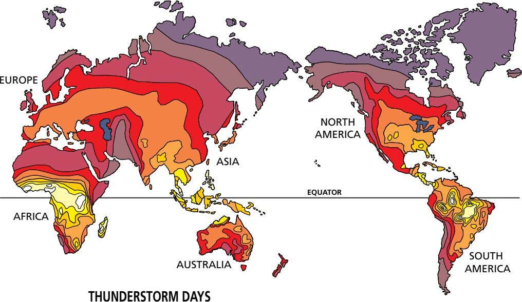 EUROPE NORTH AMERICA ASIA EQUATOR AFRICA SOUTH AUSTRALIA AMERICA THUNDERSTORMDAYS