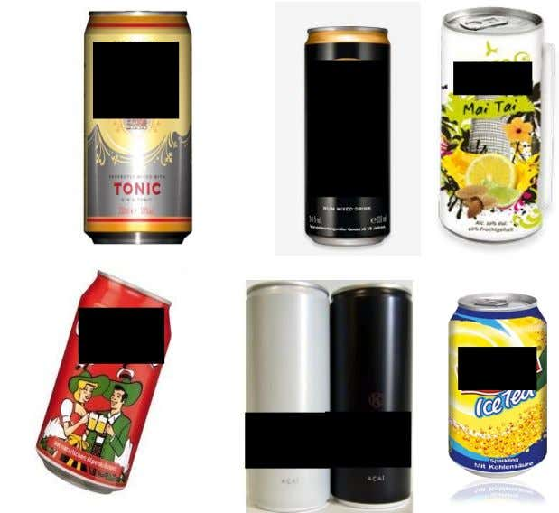 pre-mixes (above) and soft drinks and energy drinks (below) Source: Top row, from left to right: