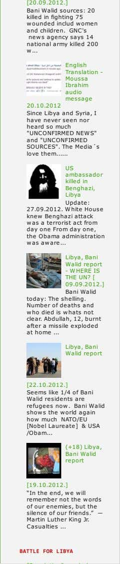 [20.09.2012.] Bani Walid sources: 20 killed in fighting 75 wounded includ women and children. GNC's