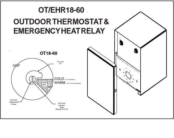 OT/EHR18-60 OUTDOOR THERMOSTAT & EMERGENCYHEATRELAY OT18-60 Thermostat Dial 315º COLD (Turn Clockwise) DEAD