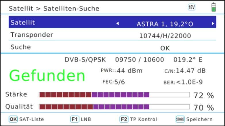 3. Main Menu 3.1.1 Satellite-Finder 82.1 mA Shows the current consumption of the LNB. 18.6 V