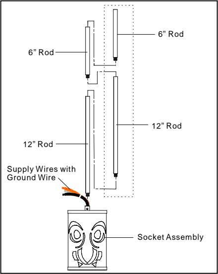 "6"" Rod 6"" Rod 12"" Rod 12"" Rod Supply Wires with Ground Wire Socket Assembly"