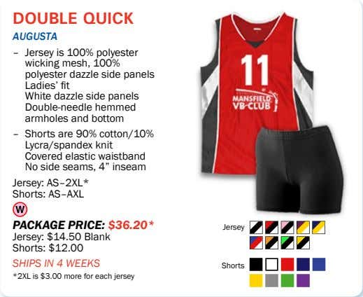double quick aUgUSta – Jersey is 100% polyester wicking mesh, 100% polyester dazzle side panels
