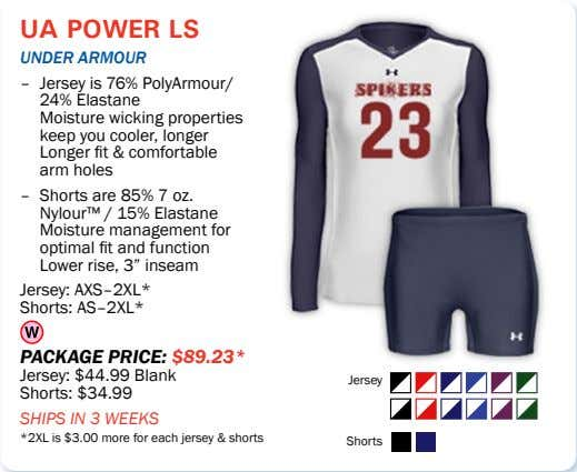 ua power ls Under armoUr – Jersey is 76% PolyArmour/ 24% Elastane Moisture wicking properties