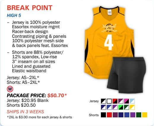 break point high 5 – Jersey is 100% polyester Essortex moisture mgmt Racer-back design Contrasting