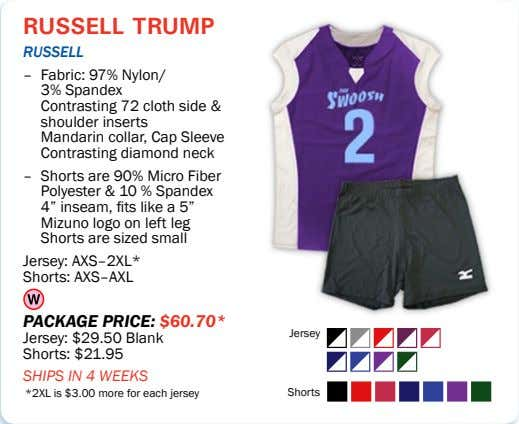 russell trump rUSSell – Fabric: 97% Nylon/ 3% Spandex Contrasting 72 cloth side & shoulder