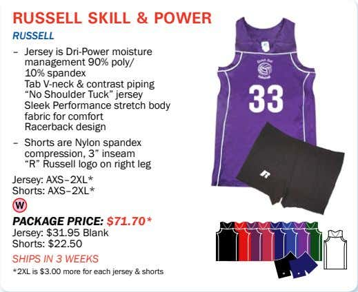 russell skill & power rUSSell – Jersey is Dri-Power moisture management 90% poly/ 10% spandex