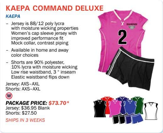 kaepa command deluxe kaepa – Jersey is 88/12 poly lycra with moisture wicking properties Women's