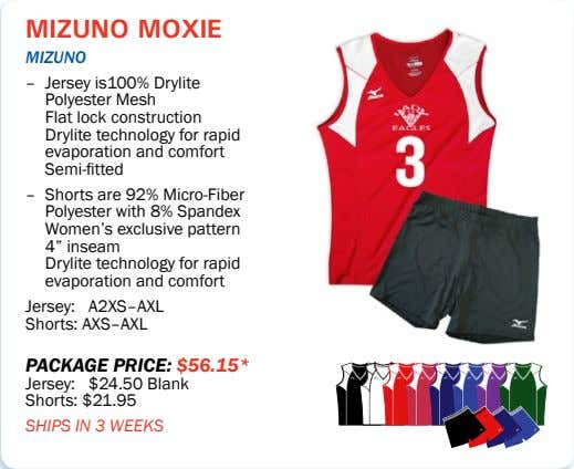 mizuno moxie mizUno – Jersey is100% Drylite Polyester Mesh Flat lock construction Drylite technology for