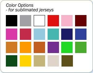 Color Options - for sublimated jerseys