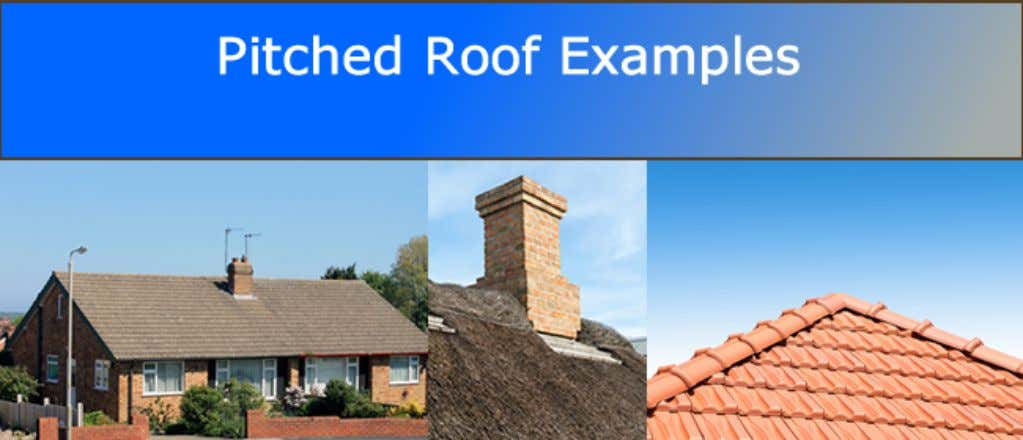 A pitched or sloping roof has a pitch of at least 15° but often much