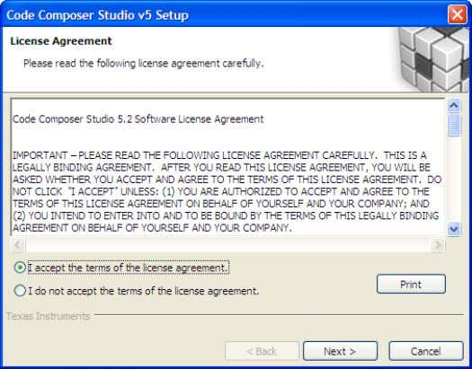 4. Accept the Software License Agreement and click Next. 5. Unless you have a specific reason