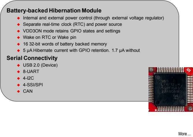 Battery-backed Hibernation Module  Internal and external power control (through external voltage regulator) 