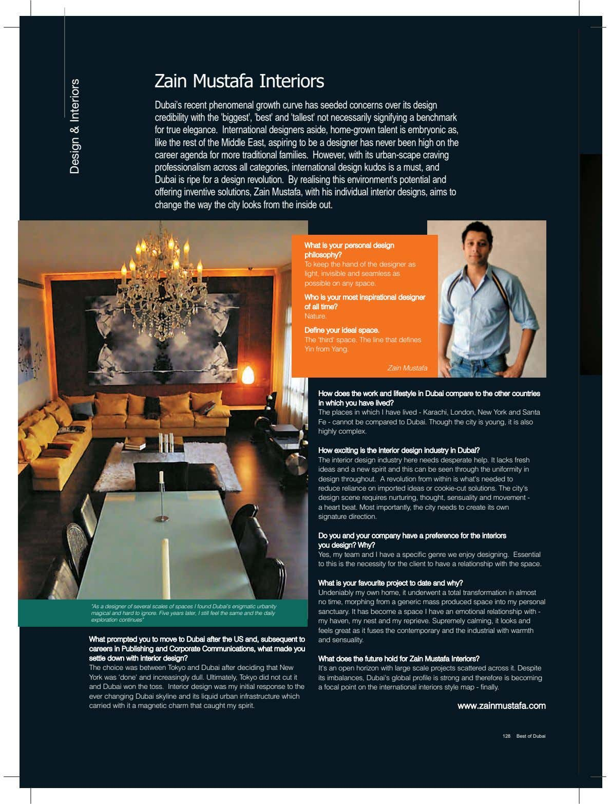 Zain Mustafa Interiors Dubai's recent phenomenal growth curve has seeded concerns over its design credibility with