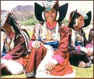 with reverence and care. Nothing is discarded or wasted. Fig. 10.6. Ladakhi Women in Traditional Dress