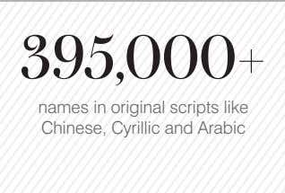 395,000+ names in original scripts like Chinese, Cyrillic and Arabic