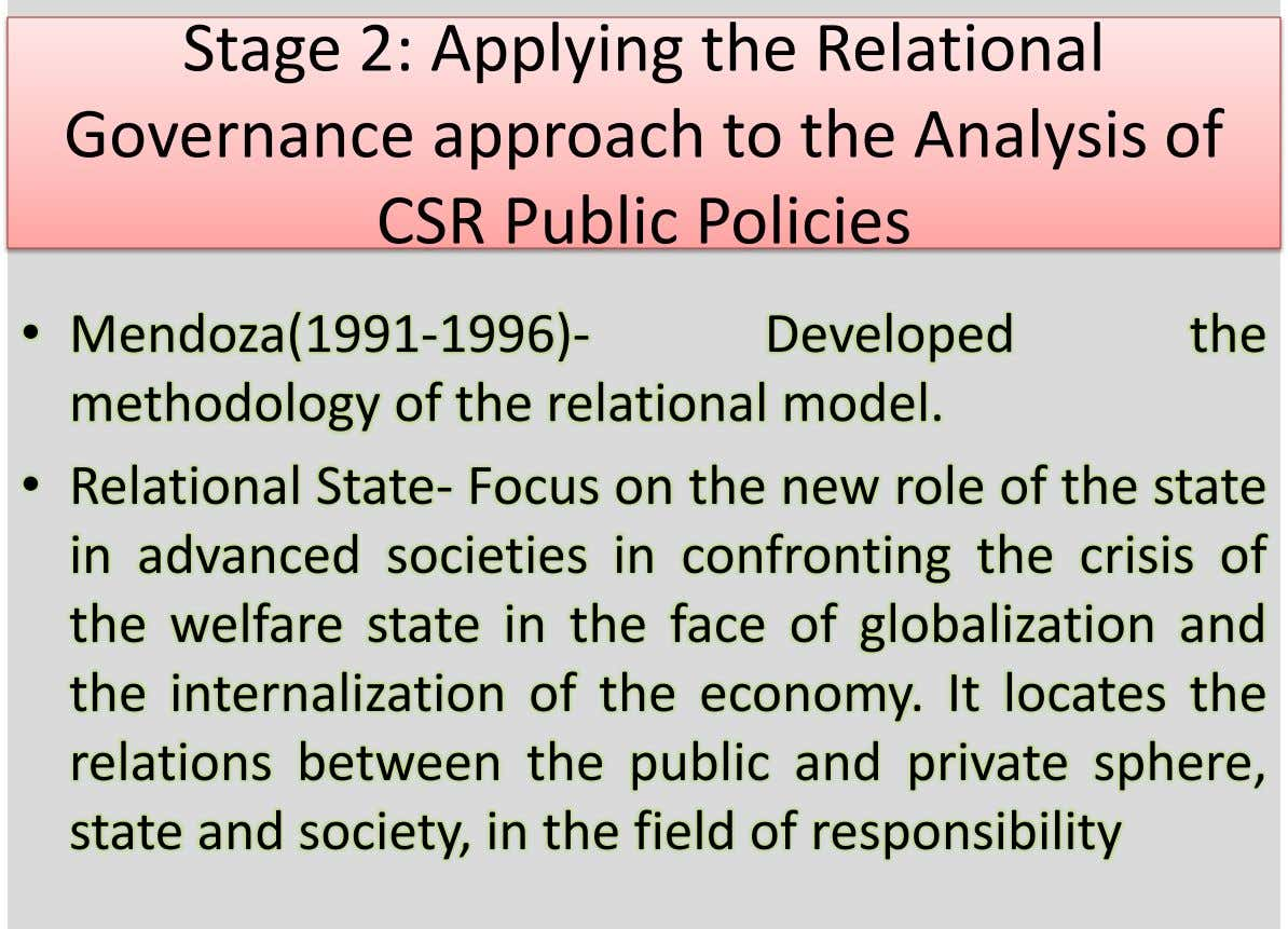 Stage 2: Applying the Relational Governance approach to the Analysis of CSR Public Policies • Mendoza(1991-1996)-