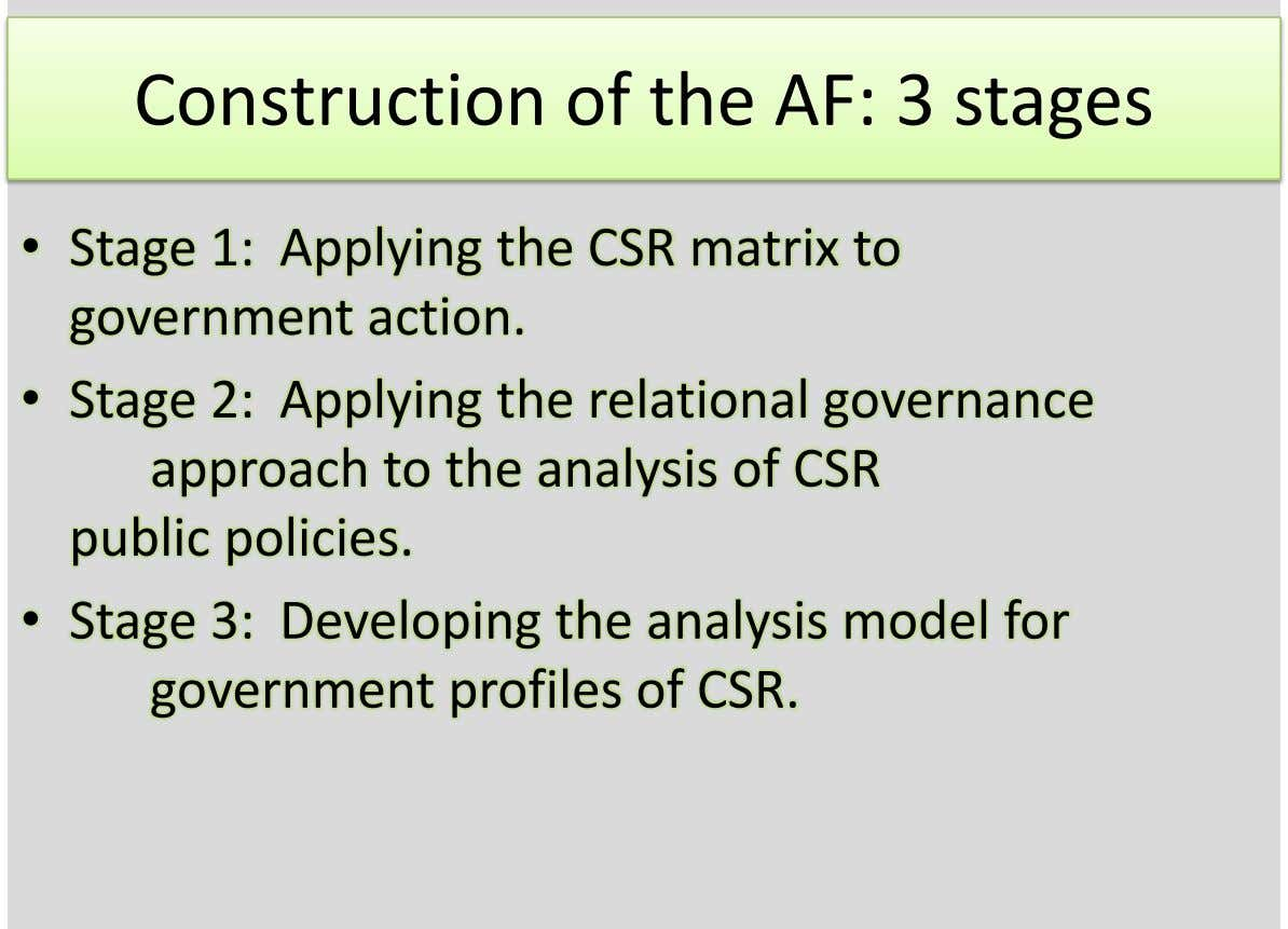 Construction of the AF: 3 stages • Stage 1: Applying the CSR matrix to government action.
