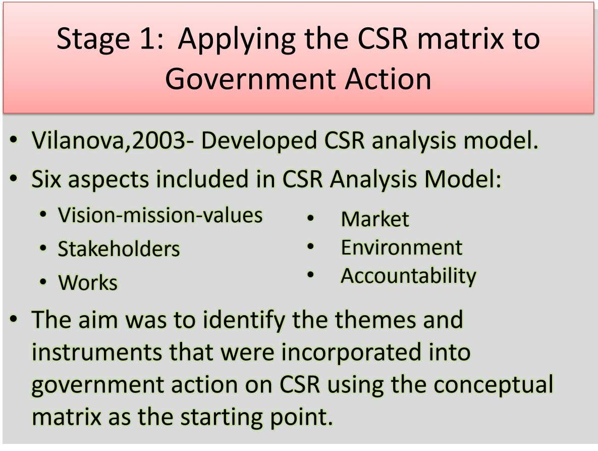 Stage 1: Applying the CSR matrix to Government Action • Vilanova,2003- Developed CSR analysis model. •