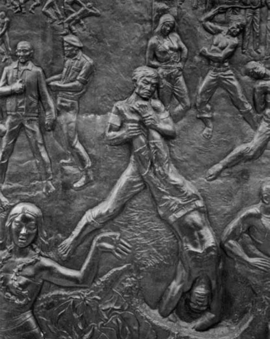2. Detail of bas-relief on the Sacred Pancasila Monument. Female members of the Communist Party