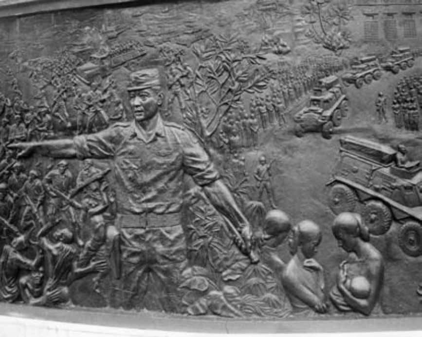 Introduction t 23 4. Detail of bas-relief on the Sacred Pancasila Monument. Suharto ends the chaos,