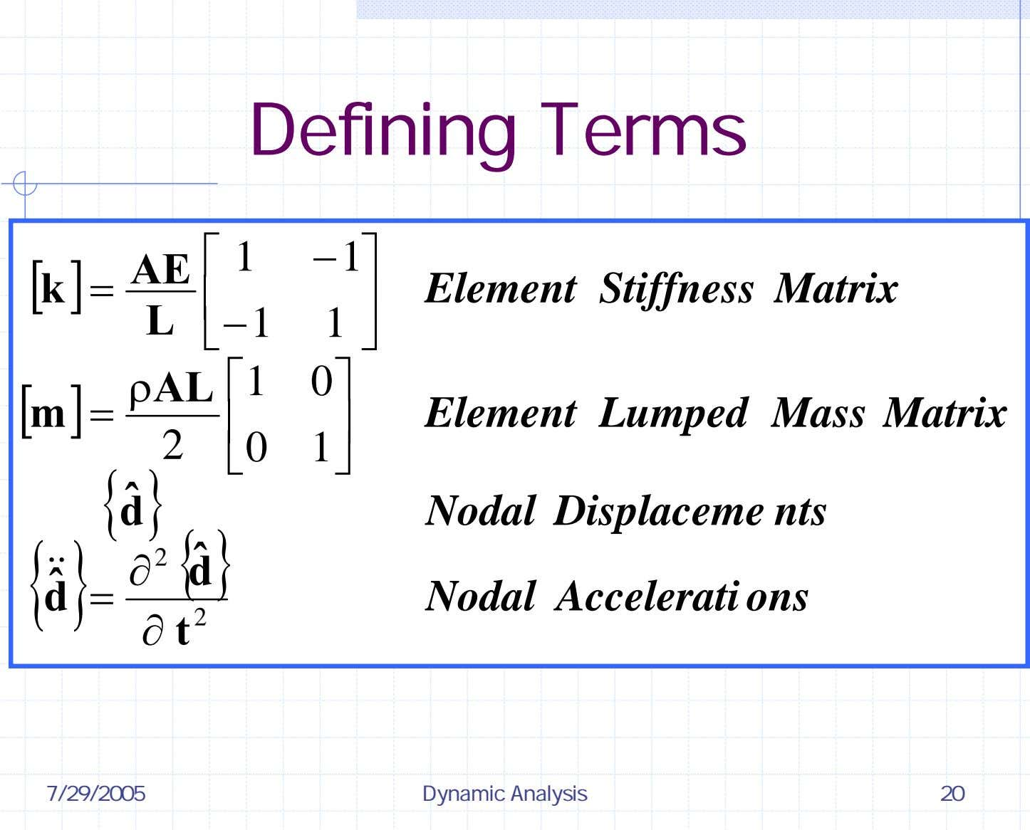 Defining Terms ⎡ 1 − 1 ⎤ [ AE k ] = Element Stiffness Matrix