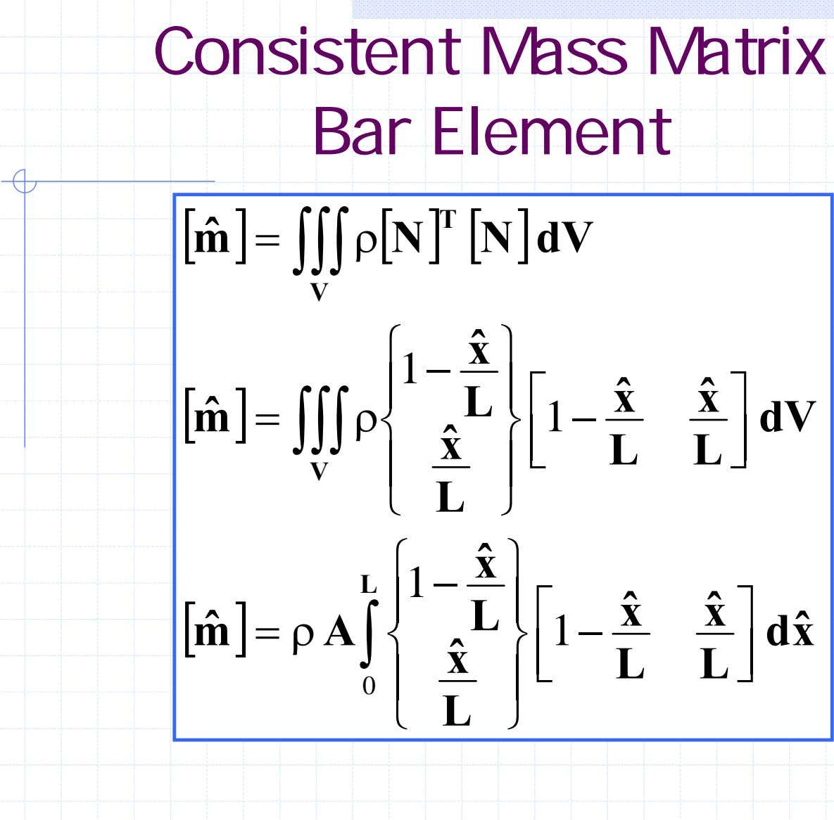 Consistent Mass Matrix Bar Element [ mˆ ] [ T = ρ ∫∫∫ N ]