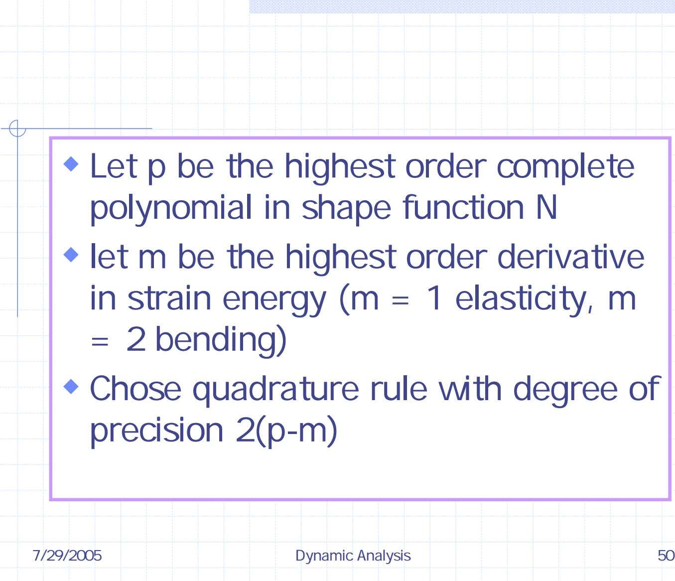 Let p be the highest order complete polynomial in shape function N let m be