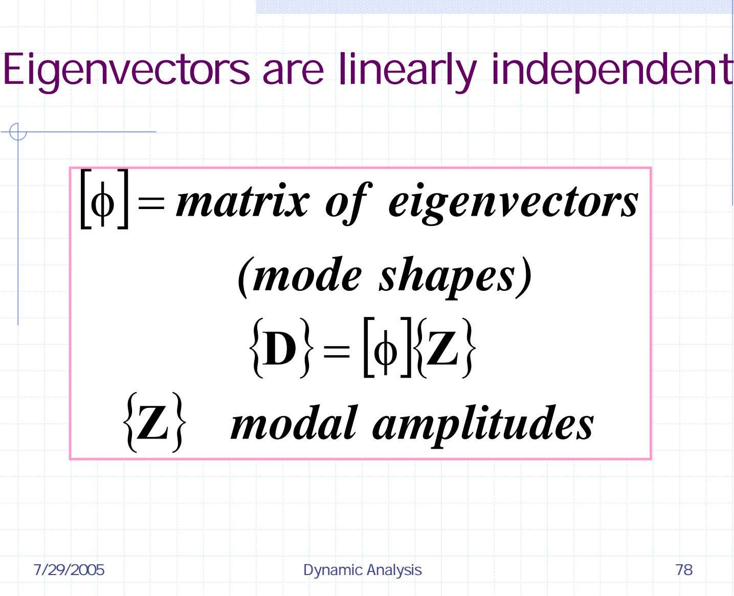 Eigenvectors are linearly independent [ φ ] = matrix of (mode eigenvectors shapes) { D