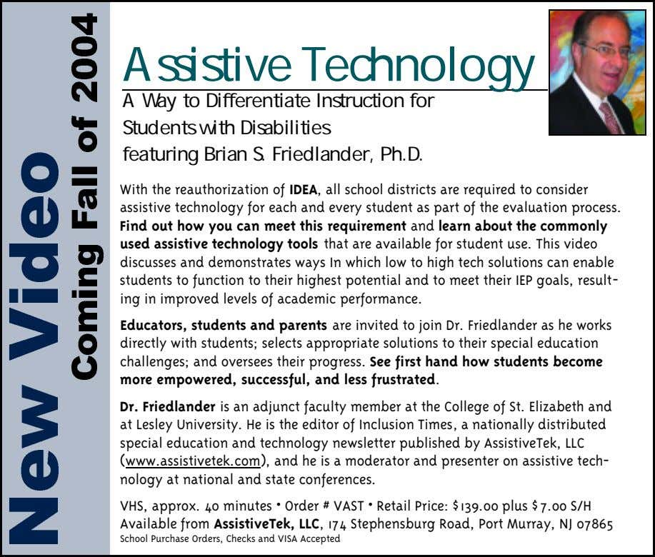 Assistive Technology A Way to Differentiate Instruction for Students with Disabilities featuring Brian S. Friedlander,