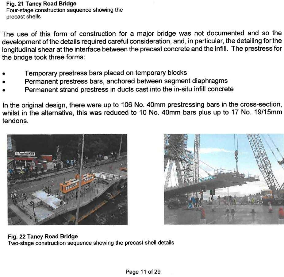 Fig. 21 Taney Road Bridge Four-stage construction sequence showing the precast shells The use of