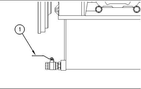 container. Dispose of fluids according to local regulations. Illustration 98 (1) Drain valve g00130760 2. Open