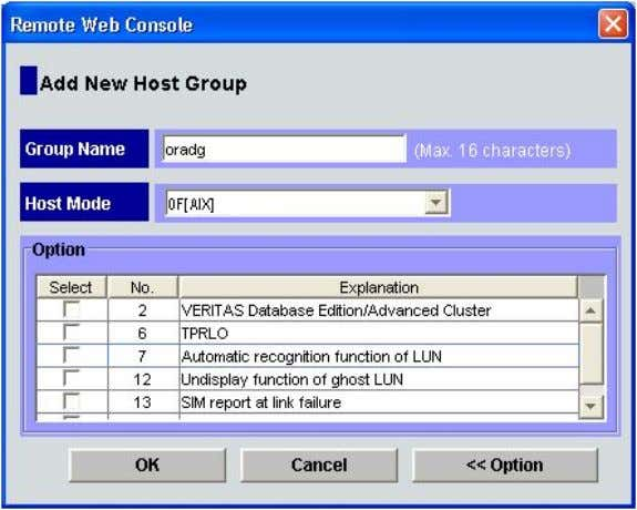additional host group mode is required for the host group. HP StorageWorks Disk Array XP operating