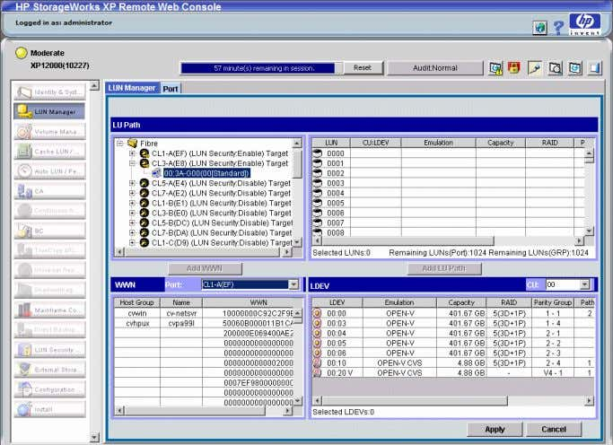 • Mapping volumes to host groups (by assigning LUNs) In Command View XP Advanced Edition, LUN