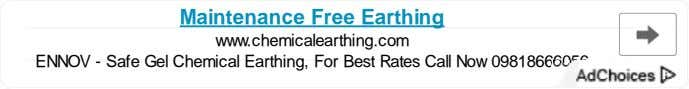 Maintenance Free Earthing www.chemicalearthing.com ENNOV - Safe Gel Chemical Earthing, For Best Rates Call Now