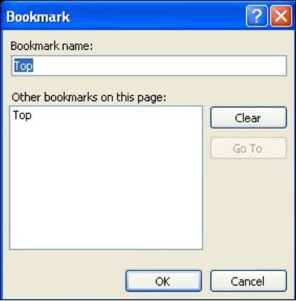 in FrontPage. The bookmark does not display in the browser. Figure 3. Bookmark Adding a Bookmark