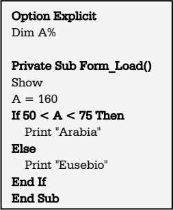 Option Explicit Dim A% Private Sub Form_Load() Show A = 160 If 50 < A