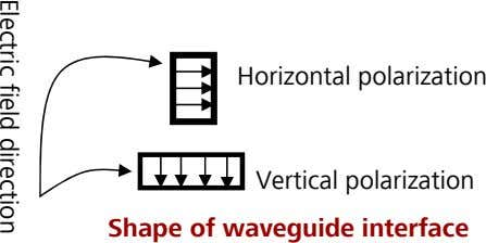 Horizontal polarization Electric field direction Vertical polarization Shape of waveguide interface