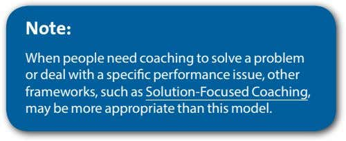 Note: When people need coaching to solve a problem or deal with a specific performance