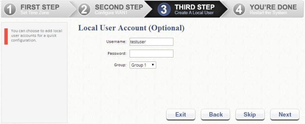 use the default Group 1 ).  Click Next to continue. Step 4. Confirm and Restart
