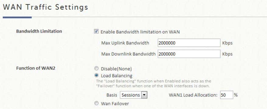 load, calculated using session, bytes, or packets. WAN Failover Once enabled, whenever WAN1 is down, WAN2