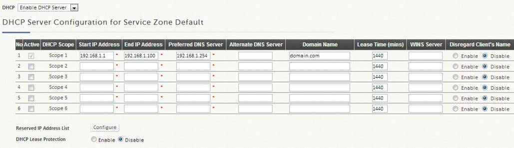 settings for each Service Zone profile. Options include Disable DHCP option, Enable built-in DHCP server or
