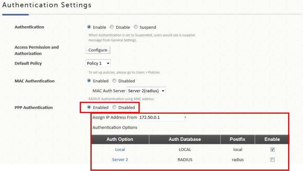 been authenticated successfully without further UAM login. The IP Address Range Assignment field configures the