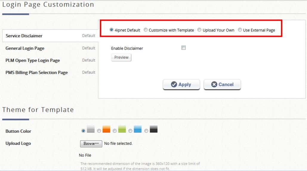 Success Page, Logout Failed Page, and Online Device List. There are three customization options to choose