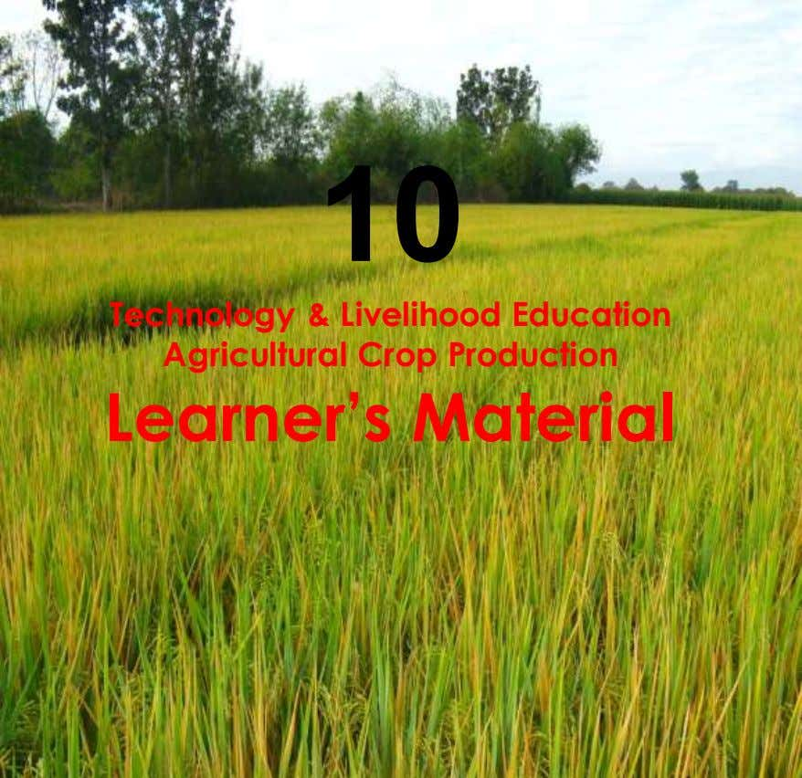 10 Technology & Livelihood Education Agricultural Crop Production Learner's Material
